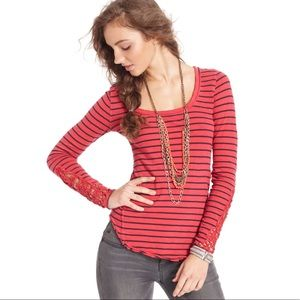 Free People Long Sleeve Top Small Red and Navy